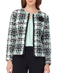 Tahari By Arthur S. Levine Plus Tweed Open Front Blazer Mint