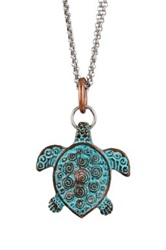 Mariechavez Patina Turtle Pendant Necklace Metallic