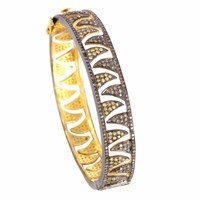 Meghna Jewels Claw Bangle Champagne Diamonds And Yellow Sapphire Gold Brown