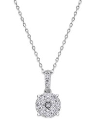 Macy's Diamond Cluster Circle Pendant Necklace 1 2 Ct. T.W. In 14K White Gold