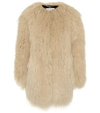 Saint Laurent Fur Coat Beige