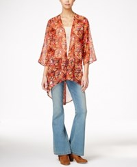 Say What Juniors' Printed High Low Kimono Red Combo