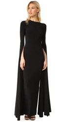 Norma Kamali Ribbon Sleeve Fitted Gown Black