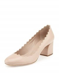 Chloe Scalloped Leather Pump Light Pink
