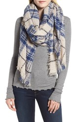 Sole Society Mixed Plaid Scarf Blue Multi