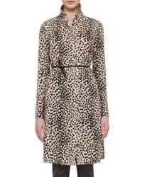 Akris Belted Cheetah Print Shirtdress Date Steppe Multi Colored