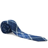The Hill Side Indigo Madras Large Check Pointed Tie Blue