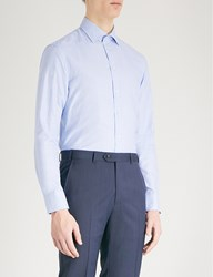 Armani Collezioni Emporio Dot Printed Cotton Shirt Sky Blue