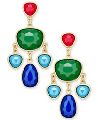 Charter Club Gold Tone Colored Stone Chandelier Earrings Only At Macy's Multi