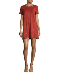 Design Lab Lord And Taylor Studded Faux Suede Short Sleeve Shift Dress Rust