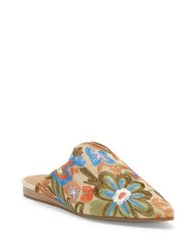 Lucky Brand Blythh Embroidered Floral Mules Light Beige