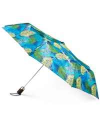 Totes Signature Auto Open Compact Umbrella With Neverwet Palm Leaves