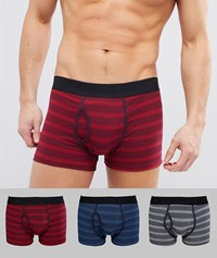 Burton Menswear Trunks With Stripes 3 Pack Black