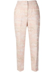 Blugirl Embroidered Fitted Trousers Pink And Purple