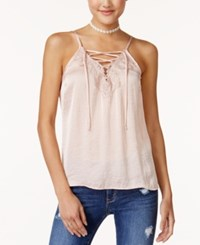 American Rag Juniors' Hammered Satin Lace Up Camisole Created For Macy's Pink
