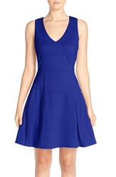 Women's Adelyn Rae Cotton Blend Fit And Flare Dress Cobalt