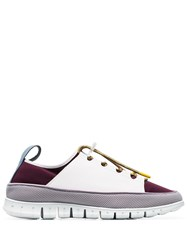 Sunnei Maroon Watershoe Caged Leather Low Top Sneakers White