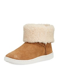 Ugg Mika Curly Shearling Bootie Sneakers Chestnut