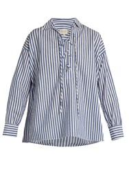 Nili Lotan Shiloh Striped Cotton Poplin Shirt Blue White