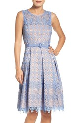 Eliza J Women's Belted Lace Fit And Flare Dress
