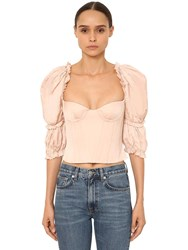 Brock Collection Ruffled Cotton Poplin Bustier Top Pink