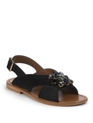 Marni Jeweled Calf Hair Slingback Flat Sandals Black