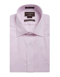 Black Brown Striped Cotton Dress Shirt Pink