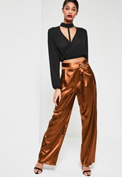 Missguided Orange Satin Belt Detail Wide Leg Trousers Rust