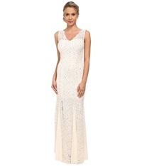 Alejandra Sky Sleeveless Scalloped Strap Gown Ivory Gold Women's Dress