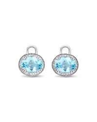 Oval Blue Topaz And Diamond Earring Drops 18K White Gold Kiki Mcdonough