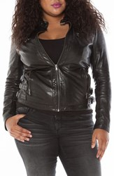 Slink Jeans Plus Size Women's Fitted Leather Moto Jacket
