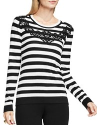 Vince Camuto Crewenck Floral Lace Applique Striped Sweater White Black