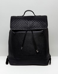 Asos Leather Backpack With Woven Front Panel Design Black