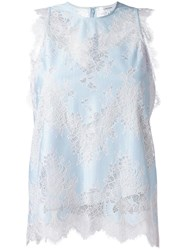 Carven Lace Tank Top Blue