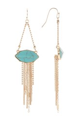 Vince Camuto Faceted Stone Trapeze Earrings Gold 01