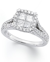 Macy's Princess Treasures Princess Cut Diamond Engagement Ring In 14K White Gold 1 Ct. T.W.