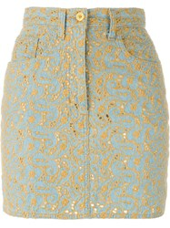 Moschino Vintage Floral Embroidered Denim Skirt Blue