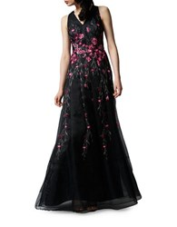 Kay Unger Placed Floral Embroidered Tulle Gown Black Pink