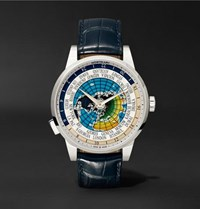 Montblanc Heritage Spirit Orbis Terrarum Latin Unicef 41Mm Stainless Steel And Alligator Watch Blue