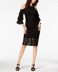 Thalia Sodi Cold Shoulder Lace Dress Created For Macy's Deep Black