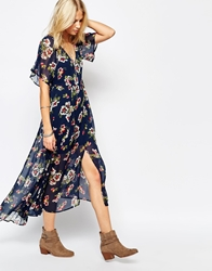 Abercrombie And Fitch Floral Chiffon Print Flutter Sleeve Maxi Dress Navyfloral