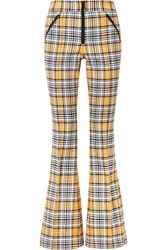 Veronica Beard Fraser Checked Cotton Blend Flared Pants Yellow