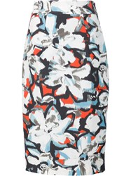 Milly Floral Print Pencil Skirt White