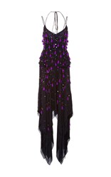 Prabal Gurung Embroidered Thin Strap Handkerchief Hem Dress Black Purple