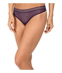 Dkny Signature Thong Plum Fishnet Women's Underwear Purple