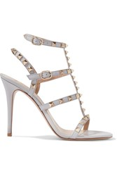 Valentino Rockstud Patent Leather Sandals Light Gray