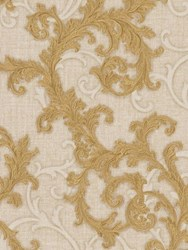 Versace Baroque And Roll Printed Wallpaper Beige Gold