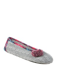 Isotoner Samantha Ballerina Slip On Slippers Charcoal Heather