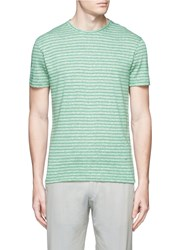 Isaia Stripe Linen Cotton T Shirt Green