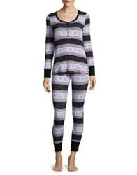Lord And Taylor 2 Piece Thermal Henley Pajamas With Pouch Festive